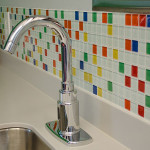 colorful tile on wall of pediatric dental room