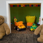 2 bears guarding kids cubby play area